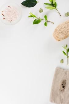 Kom met kruidenzout; bladeren en loofah geïsoleerd op witte achtergrond