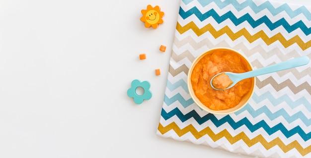 Kom met wortelpuree voor baby en kopie-ruimte