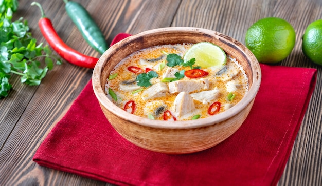 Kom tom kha kai - thaise kippenkokossoep