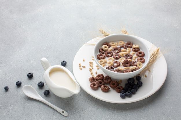 Kom van het close-up de smakelijke graangewas met melk