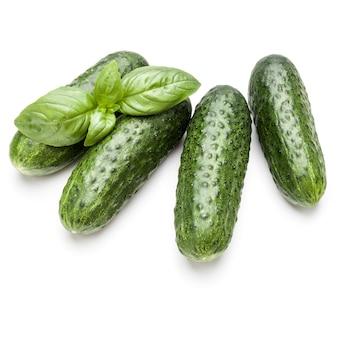 Komkommer groente en basilicum bladeren geïsoleerd op een witte achtergrond knipsel