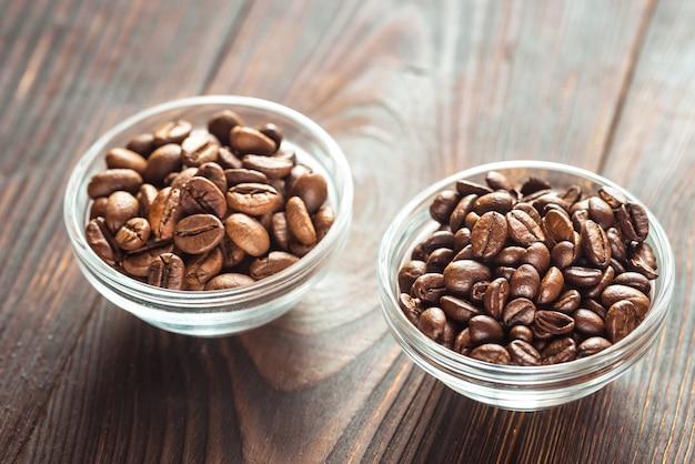 Kommen arabica en robusta koffiebonen