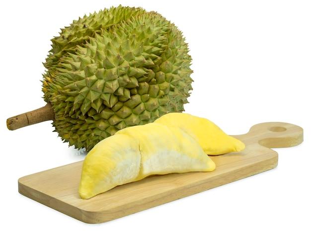Koning van fruit, durian geïsoleerd op wit, gouden kussen of mon thong durian.