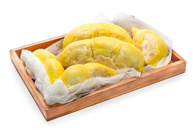 Koning van fruit, geel durian durian fruit van mon thong op wit.