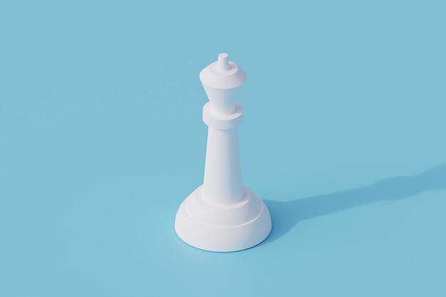 Koningin schaken één geïsoleerd object. 3d render illustratie isometrisch