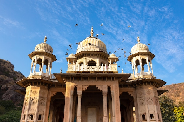 Koninklijke gaitore-tumbas in jaipur india met vogel die over in blauwe hemel vliegen.
