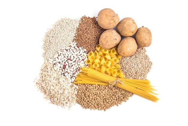 Koolhydraten van aardappelen en gries.