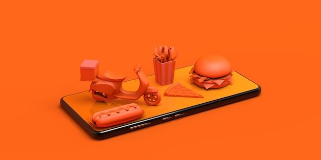 Koop eten online met smartphone levering motorfiets hotdog pizza hamburger frietjes 3d illustratie