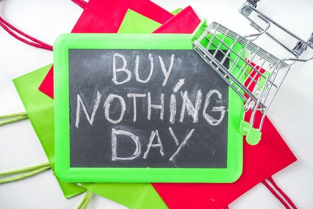 Koop niets dag achtergrond, internationale dag van protest tegen consumentisme en winkeldagen concept