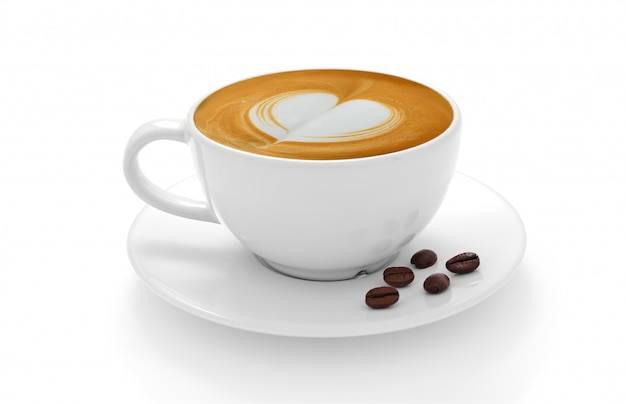 Kop koffie latte en koffiebonen die op witte achtergrond wordt geïsoleerd