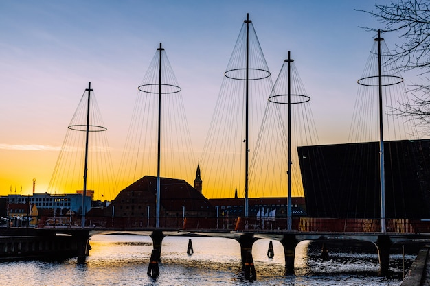 Kopenhagen, denemarken, circle bridge, kopenhagen