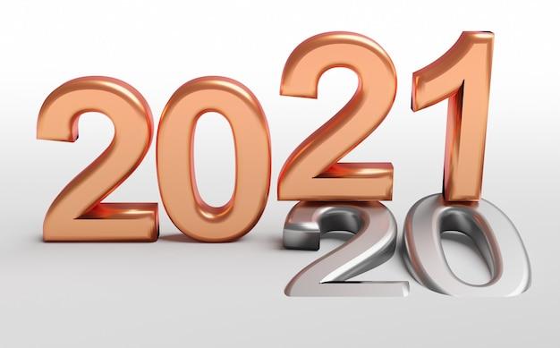 Koperen 2021-nummers over metalen 2020-nummers