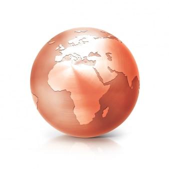 Koperen earth globe