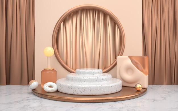 Koperen geometrische achtergrond met overlappend cilindrisch marmeren podium met drie lagen
