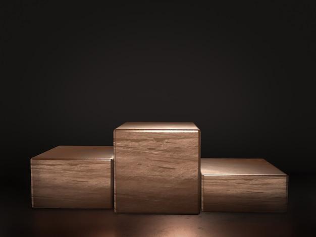 Koperen voetstuk voor weergave, platform voor ontwerp, lege productstandaard met bokeh-achtergrond. 3d-weergave