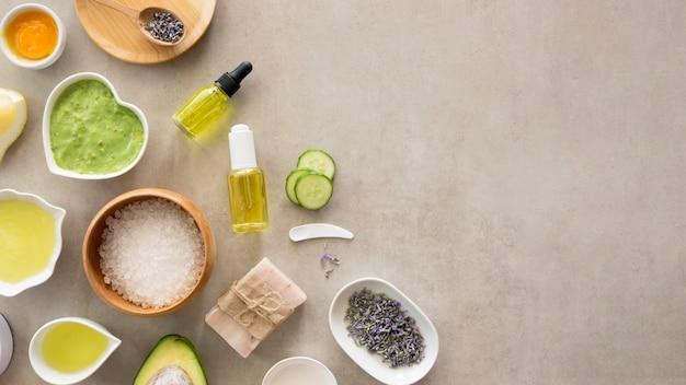 Kopieer ruimte bovenaanzicht spa natuurlijke cosmetica