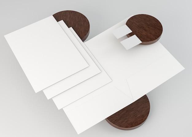 Kopieer ruimte briefpapier documenten hoge weergave