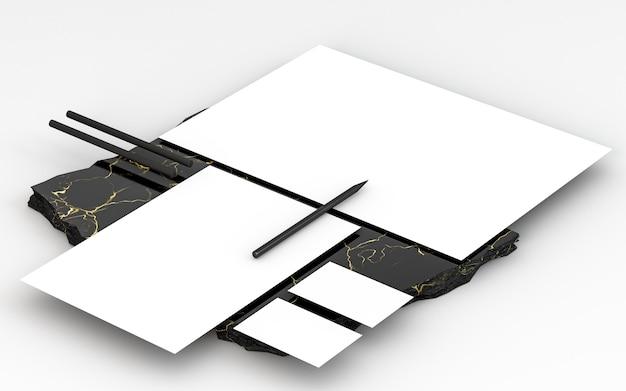 Kopieer ruimte briefpapier documenten op marmeren rots