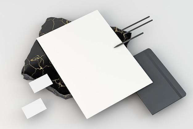 Kopieer ruimte briefpapier hoge weergave met potloden