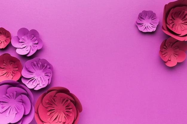 Kopieer ruimte kleurrijke papieren bloemen