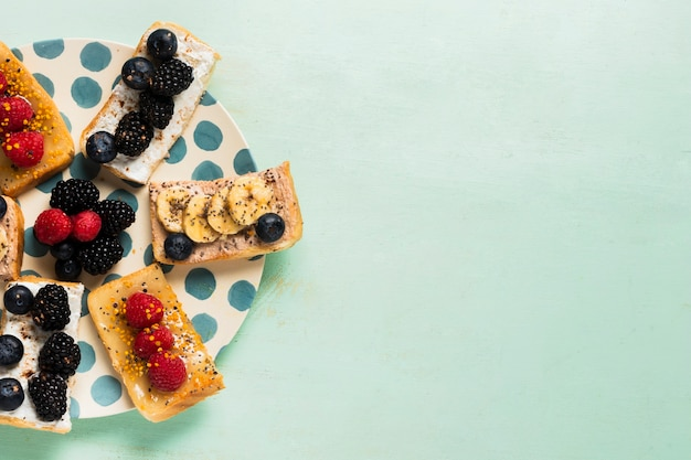 Kopieer ruimte vintage ontbijt concept