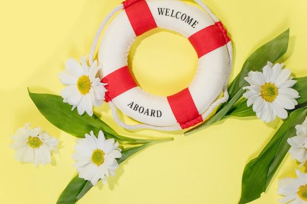 Kopieer ruimte voor tekst kamilles en bloemblaadjes witte bloem met geel hart bovenaanzicht