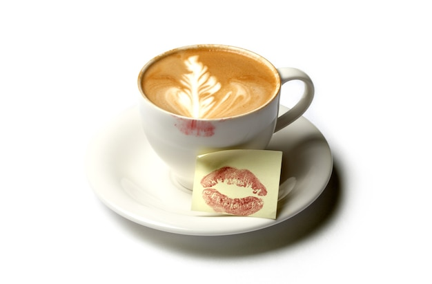 Kopje barista-koffie met kusnota