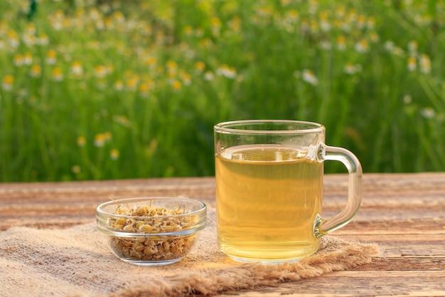 Kopje groene thee en kleine glazen kom met droge bloemen van matricaria chamomilla op houten planken met verse bloemen op de achtergrond.