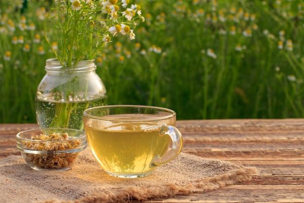 Kopje groene thee, pot met witte kamille bloemen en kleine glazen kom met droge bloemen van matricaria chamomilla op zak en houten planken met groene natuurlijke achtergrond.
