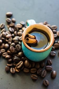 Kopje koffie en bonen