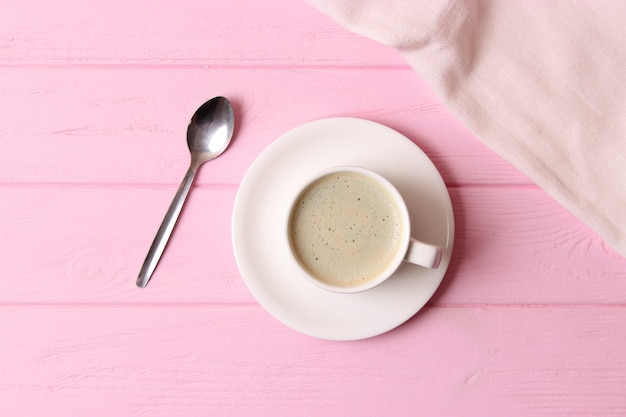 Kopje koffie met schuim close-up met plaats voor tekst