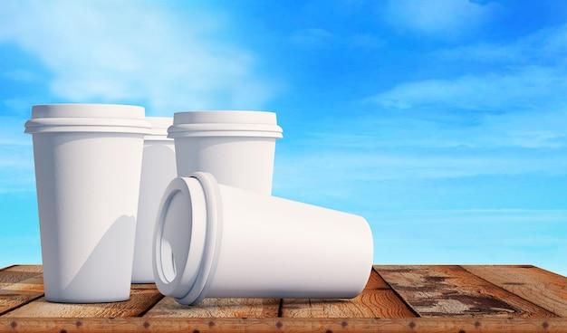 Kopje koffie op houten tafel 3d render
