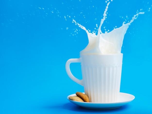 Kopje melk met koekjes