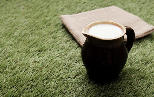 Kopje melk op gras met kopie ruimte