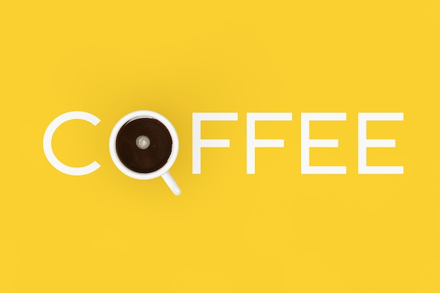 Kopje zwarte koffie als koffieteken op een gele achtergrond. 3d-rendering