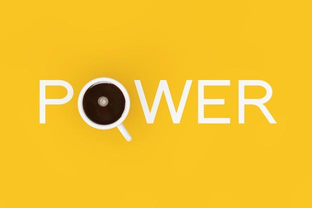 Kopje zwarte koffie als machtsteken op een gele achtergrond. 3d-rendering