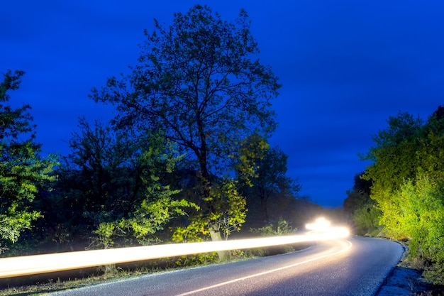 Koplampen verlichten een lege weg in een zomernachtbos. lange kronkelende koplamppaden