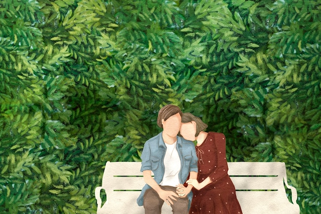Koppel op een date in de tuin valentijnsdag thema hand getekende illustratie