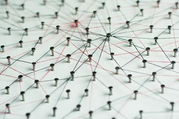 Koppelingen entiteiten. netwerk, netwerken, sociale media, internet communicatie abstract.