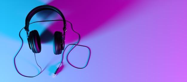 Koptelefoon op een zwarte close-up als achtergrond in neonlicht, 3d illustratie