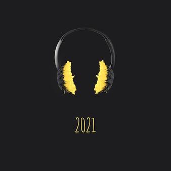 Koptelefoons met gele zonnebloemen zweven in de lucht op een grijze achtergrond, kleurenconcept van het jaar 2021