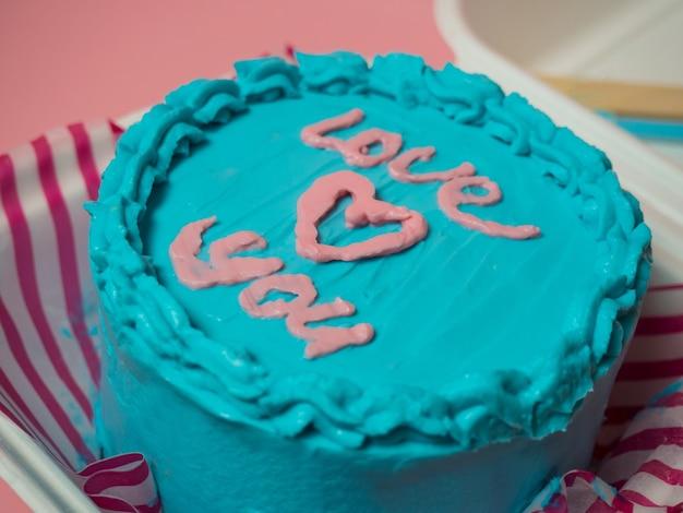 Koreaanse cake lunchbox, cake met de woorden love you and a heart. plaats voor uw tekst