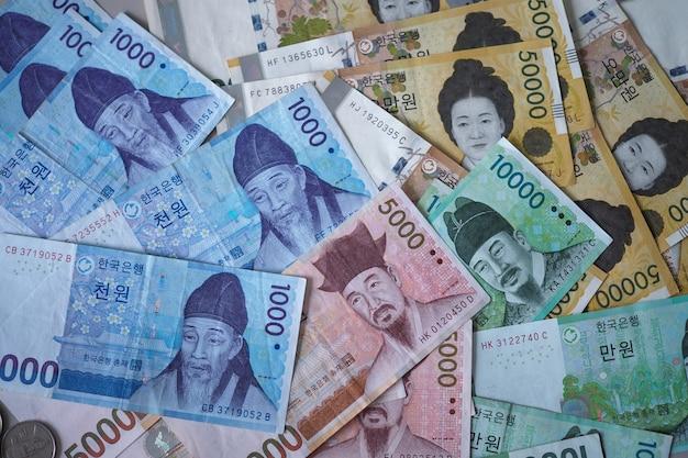 Koreaanse won notities voor geld concept achtergrond