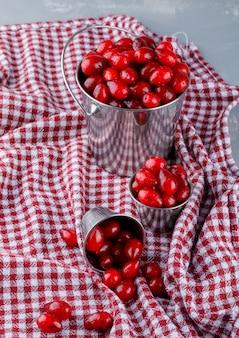 Kornoelje bessen in emmers op gips en picknickdoek, hoge hoekmening.