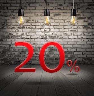 Korting van 20 procent korting met tekstaanbieding uw korting in het interieur met witte baksteen