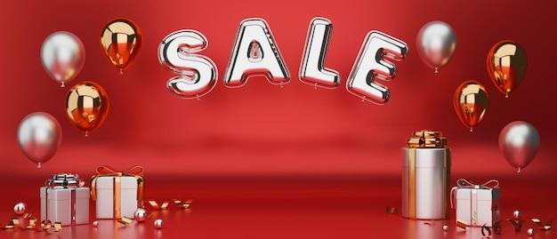 Korting verkoop banner kerst nieuwjaar in luxe design met kopie ruimte met rode achtergrond 3d