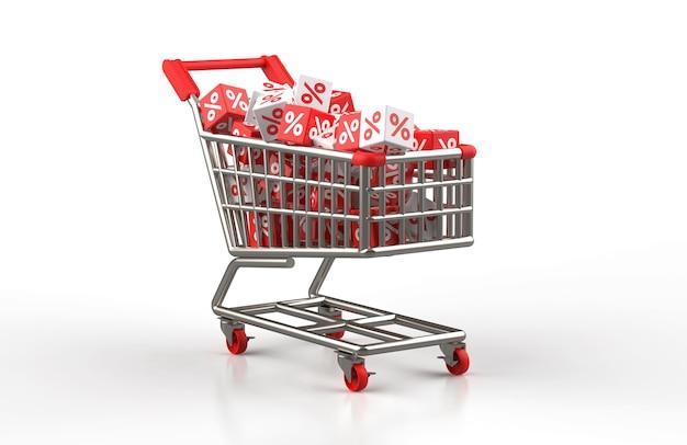 Korting verkoop concept met rode en witte kubus met procent op trolley in 3d illustratie
