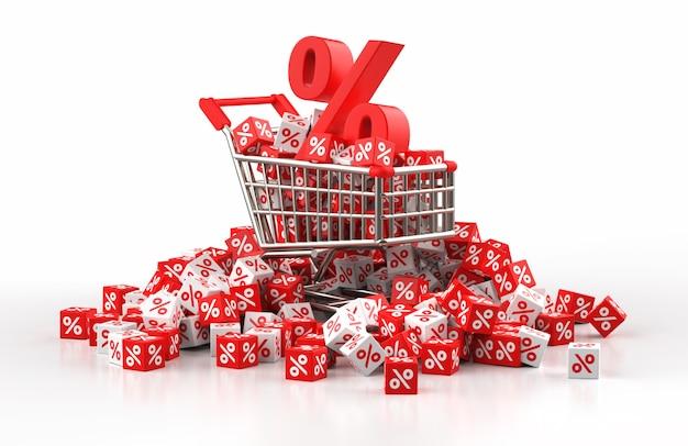 Korting verkoop concept met trolley en een stapel rode en witte kubus met procent in 3d illustratie Premium Foto