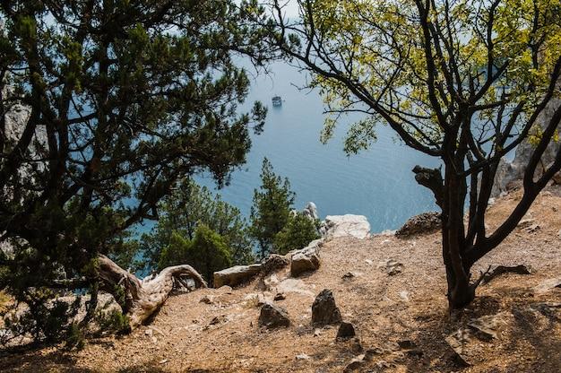 Koshka rock op glanzende zee achtergrond. simeiz-stad, krim, rusland