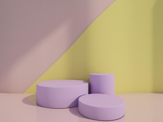 Kosmetisch flessenpodium met op het roze en gele 3d teruggeven.